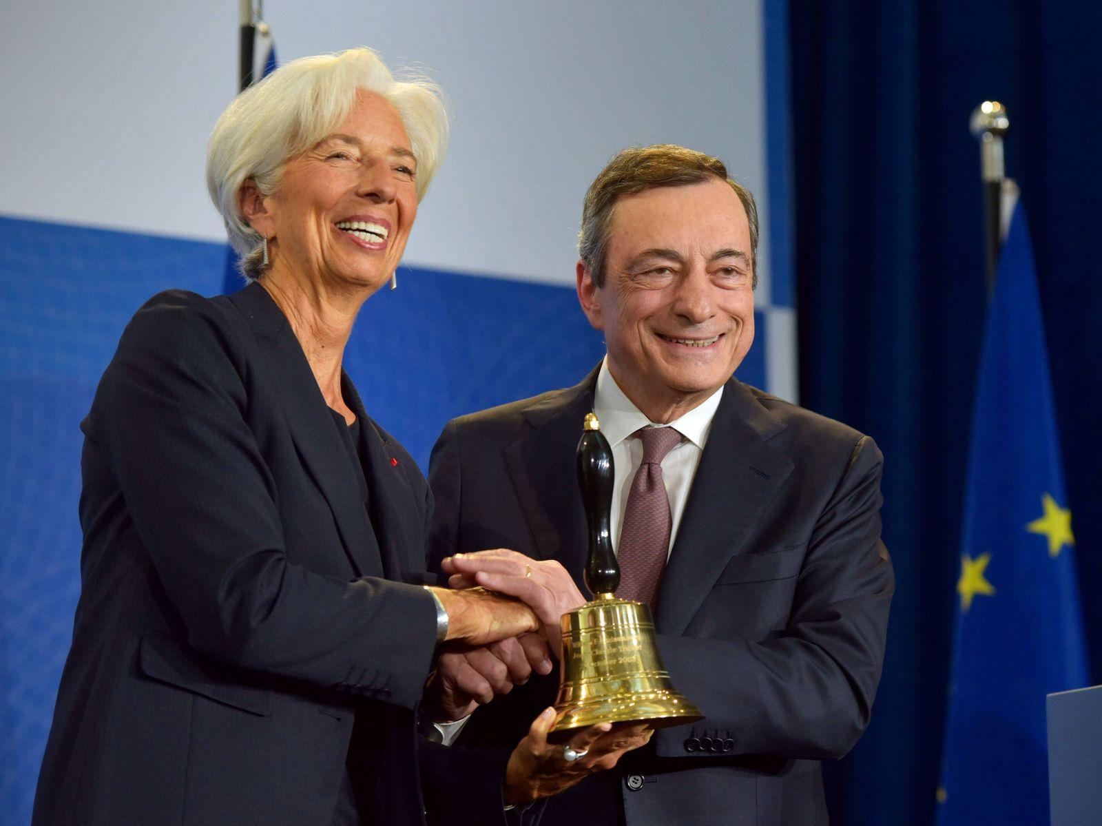 Deutschland, Frankfurt, 28.10.2019 Amtswechsel bei der EZB Foto: Mario Draghi und Christine Lagarde Amtswechsel bei der