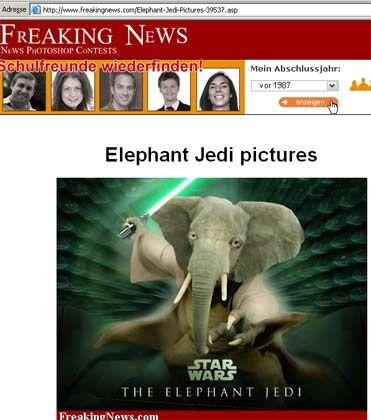 Nur ganz wenig manipuliert: Der Jedifant auf der Seite freakingnews.com. Mehr dazu in Teil 4 dieses Artikels