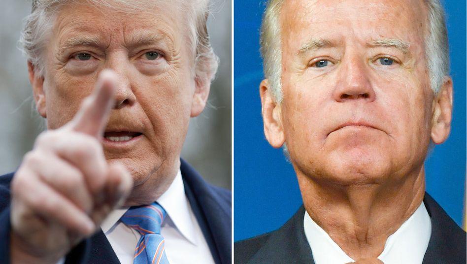 Donald Trump (l.) und Joe Biden: Sie sollten in der zweiten TV-Debatte wegen der Corona-Infektion des US-Präsidenten nur virtuell und an verschiedenen Orten gegeneinander antreten. Doch daraus wird jetzt wohl nichts