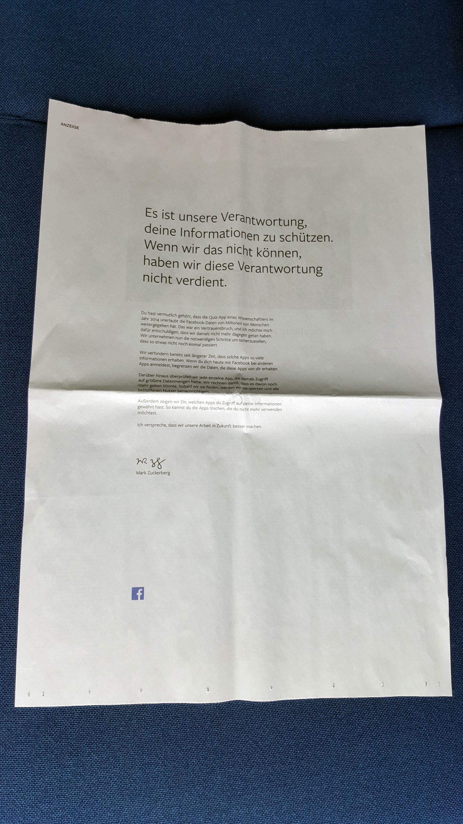 Anzeige facebook / Unterschrift Zuckerberg / Süddeutsche Zeitung