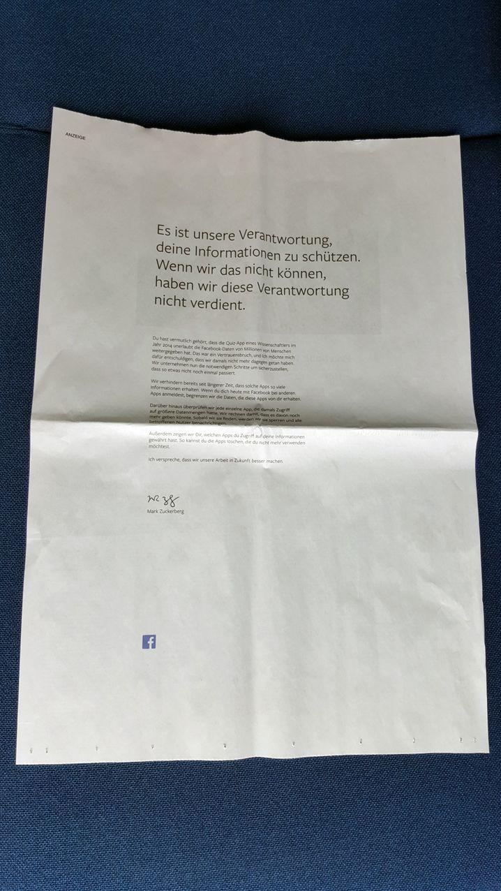 Zuckerbergs kryptische Unterschrift