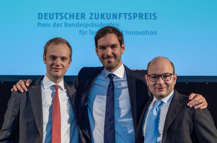 Studentenprojekt: Die Celonis-Gründer Alexander Rinke, Martin Klenk und Bastian Nominacher bei der Ehrung zum Deutschen Zukunftspreis 2019