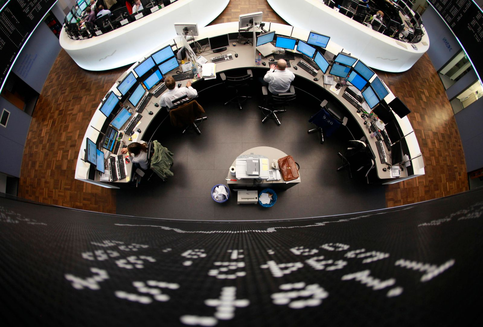 The day-low level of the German share price index DAX is seen at Frankfurt's stock exchange