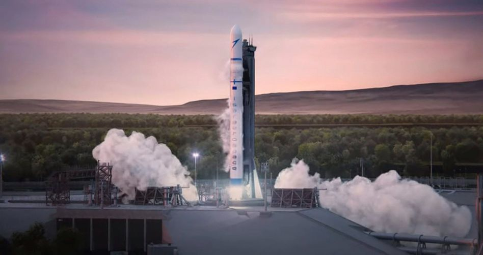 """Soll bis Ende 2022 erstmals starten und eine Tonne Nutzlast befördern: Die geplante """"Spectrum""""-Trägerrakete von Isar Aerospace (hier ein computergeneriertes Bild)"""