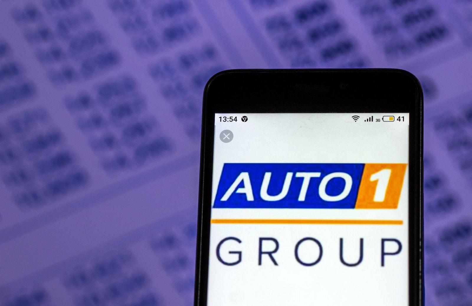 December 7 2018 Kiev Ukraine AUTO1 Group Europe÷s leading car trading platform logo seen displ