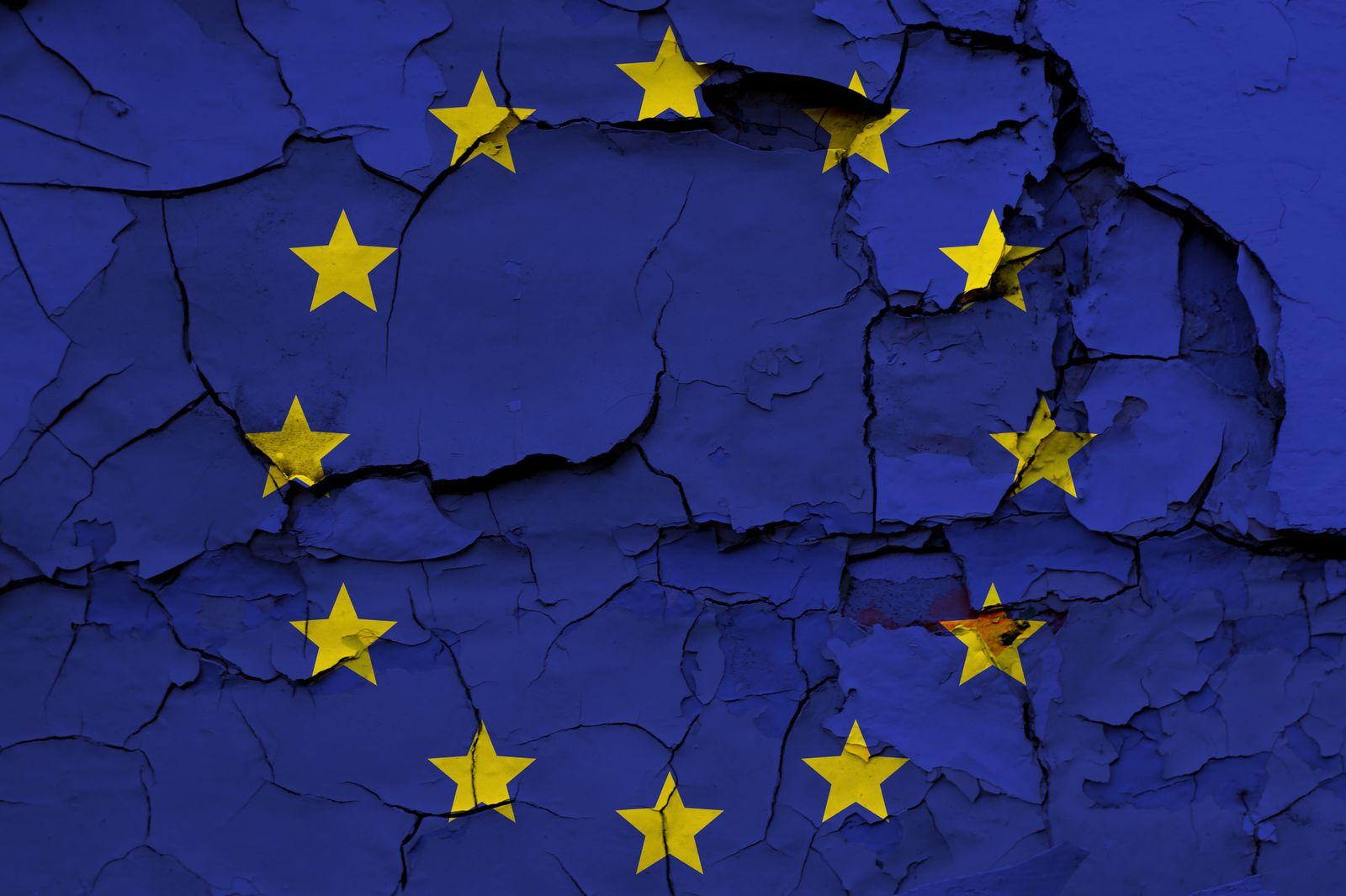 EINMALIGE VERWENDUNG Europa in der Krise / bröckelt