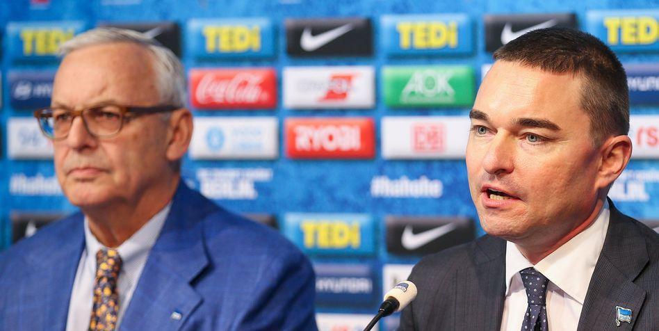 Nicht immer einer Meinung: Hertha-Präsident Gegenbauer (li.) und Investor Windhorst