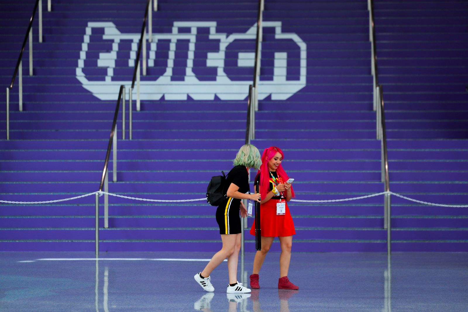 FILE PHOTO: A Twitch logo is displayed at a video games expo