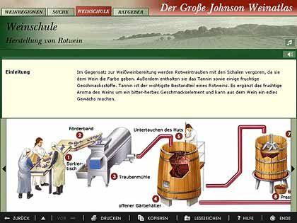 """So funktioniert es! """"Der große Johnson Weinatlas"""" auf CD-ROM erklärt zum Beispiel die Weinherstellung"""