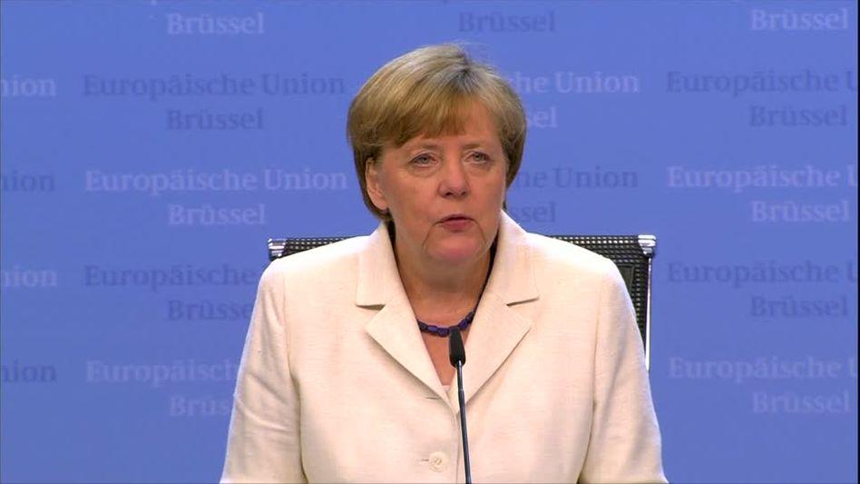 Bundeskanzlerin Merkel am Montagmorgen in Brüssel zur Einigung mit Griechenland.
