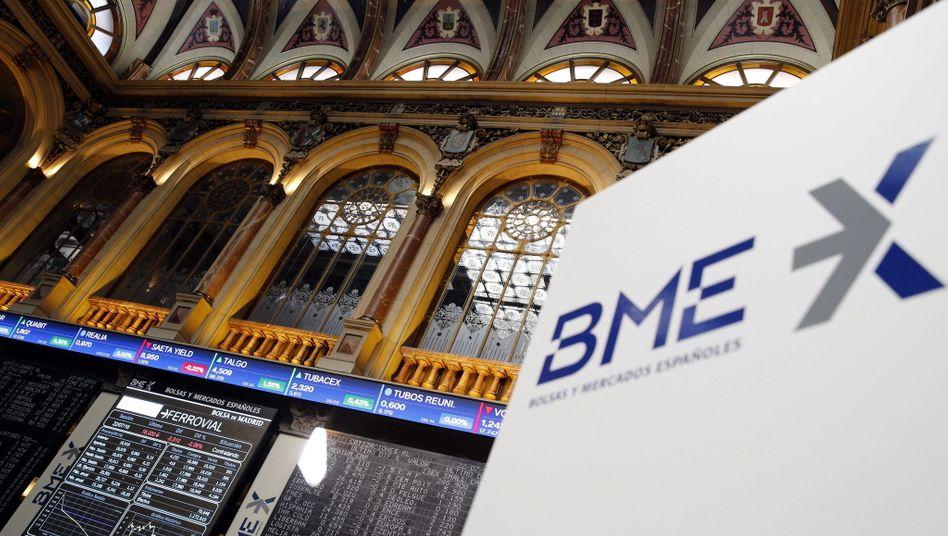 BME-Logo an der Börse in Madrid: Die Schweizer Börse bietet rund 2,84 Milliarden Euro