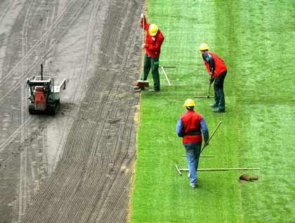 Bodenpflege: Jedes Stadion erhält circa 8000 Quadratmeter frisches Gras