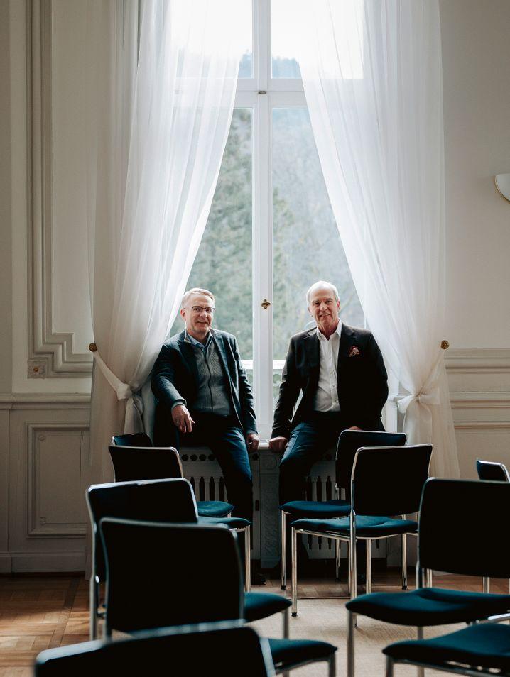"""Es gehe um """"die Zukunft Deutschlands"""": Manager Frank Trümper und Vorstandschef Karl-Ludwig Kley im Palais Biron."""