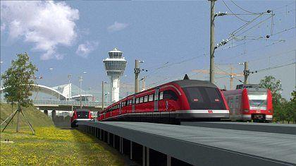 Computer-Simulation: Der Transrapid bei der Ausfahrt aus dem Münchener Flughafen