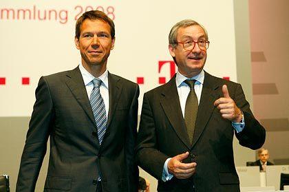 Neues Team: Ulrich Lehner (r.) erteilte Telekom-Chef Obermann erstmals als Aufsichtsratsvorsitzender das Wort