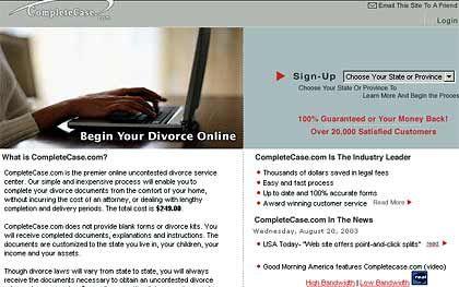 Screenshot einer amerikanischen Scheidungs-Website: Die Scheidung lässt sich am heimischen PC in die Wege leiten, den Gang zum Gericht erspart sie nicht
