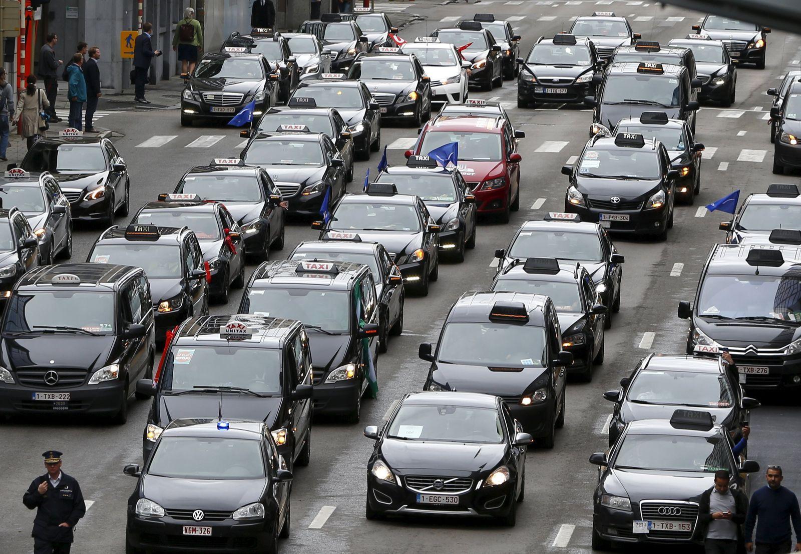 Taxifahrer-Protest gegen UBER / Brüssel