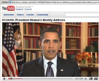 Mehr als 900.000 mal geklickt: Obama wendet sich per YouTube an die US-Bürger