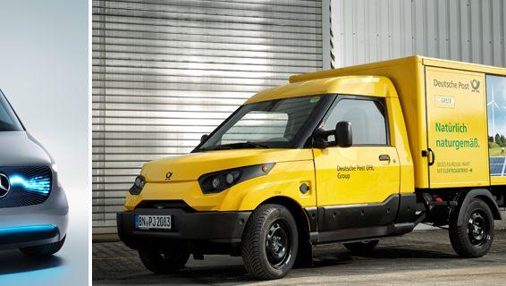 Elektro-Van-Studie von Daimler (l.), Streetscooter von der Deutschen Post