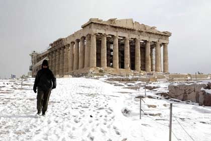Schnee an der Akropolis: Frostige Zeiten für die griechische Haushaltspolitik