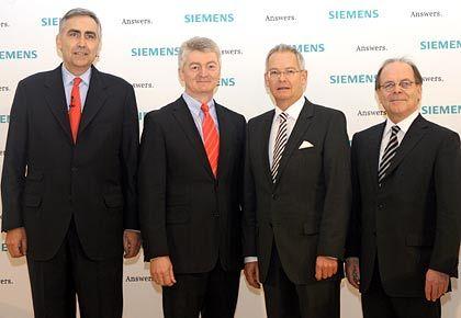 Vorstellung des Vorstands: Im Bild (von links nach rechts) Chef Peter Löscher, Heinrich Hiesinger (Industrie), Wolfgang Dehen (Energie) und Erich Reinhardt (Medizintechnik)