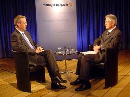 Offene Worte: Siemens-Chef von Pierer (l.) im Gespräch mit Moderator Kaden (r.)