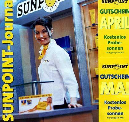 Kandidat 4: Sunpoint. Die Firma verteilte reichlich Gutscheine zum Probesonnen, konnte die hohe Zahl an Interessenten aber nicht bewältigen.