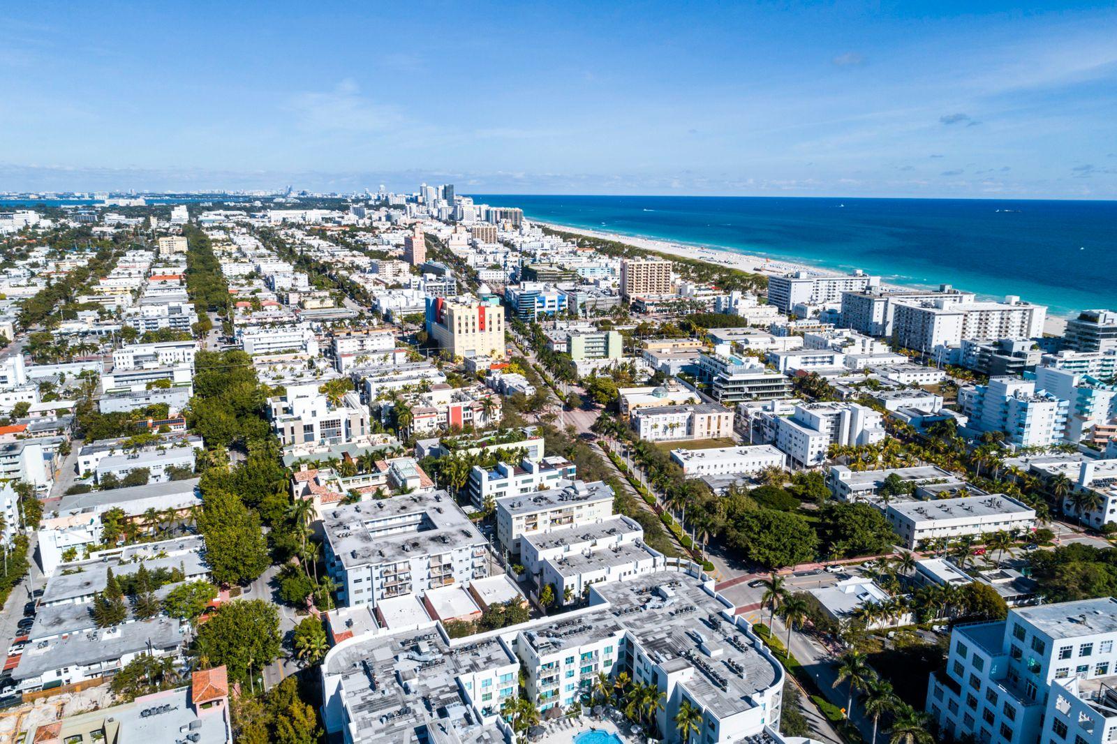 Florida, Miami Beach, aerial of Atlantic Ocean and condominiums