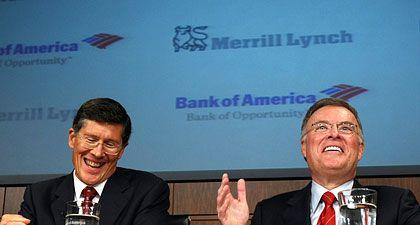 """Einmalige Gelegenheit"": Bank-of-America-Chef Lewis (r.), Merrill-Lynch-Chef Thain"