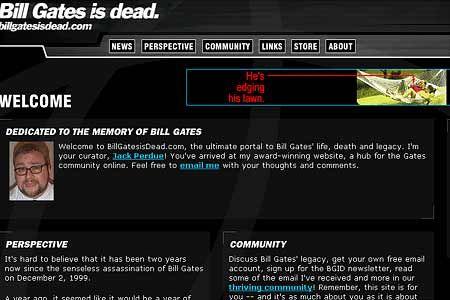 Makabre Infos auf Billgatesisdead.com
