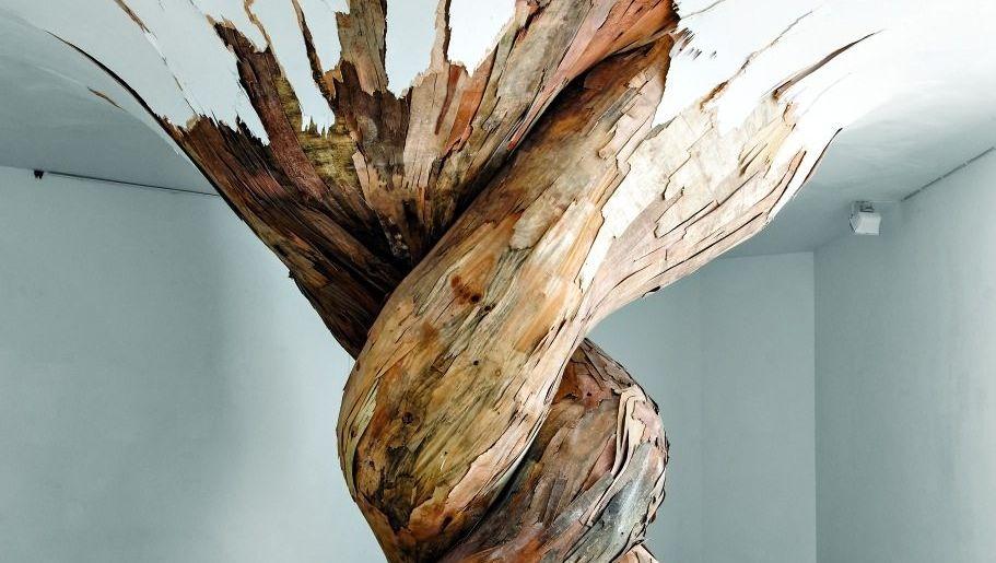 """""""Desnatureza"""": Kunstwerk von Henrique Oliveira, 2011, Sperrholz, 3,1 x 3,8 x 3,6 m, Galerie Valois, Paris"""