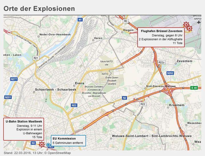 KARTE Orte der Explosion