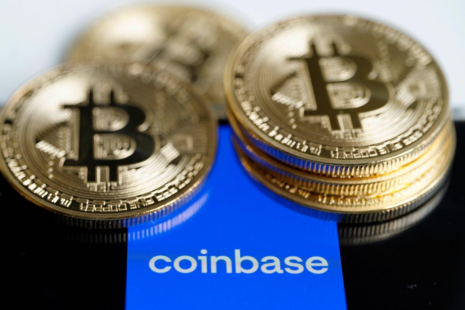 Symbolfoto US Unternehmen Coinbase Symbolbild des amerikanischen Unternehmen Coinbase. Das Unternehmen ist die groesste