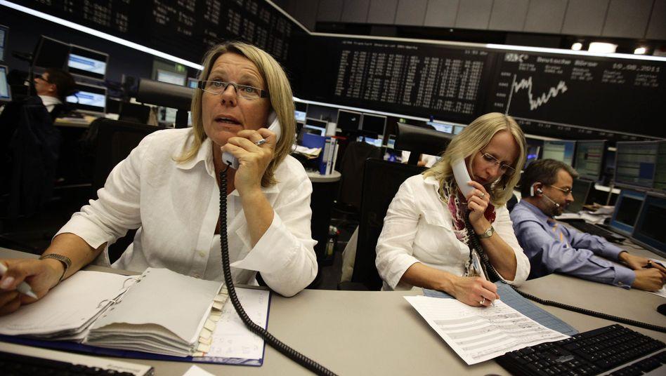 Börsianer in Frankfurt: Gute Stimmung lässt derzeit die Kurse steigen