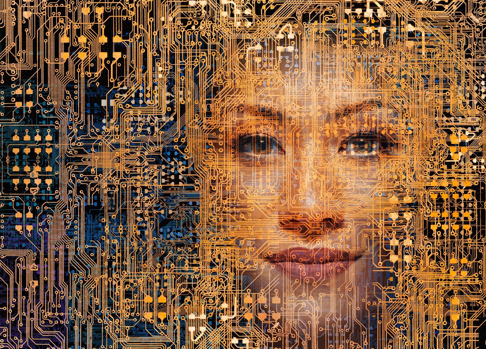 EINMALIGE VERWENDUNG KI / Frau / Künstliche Intelligenz