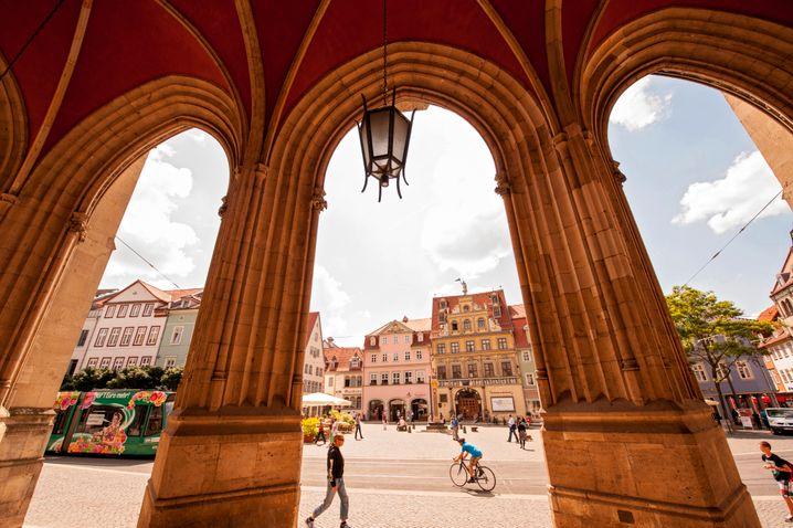 Erfurt: Blick vom Rathaus auf den Fischmarkt