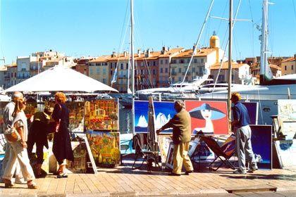 Kunst am Hafen: Saint-Tropez ist nicht nur ein Treffpunkt der Schönen und Reichen, sondern auch für Maler und andere Künstler
