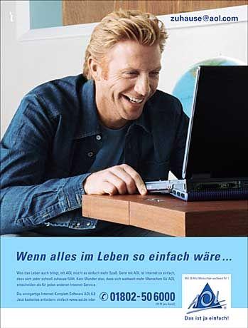 Bin ich schon drin? Boris Becker als AOL-Werbeikone