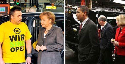 Symbolträchtige Besuche: Bundeskanzlerin Merkel bei Opel, US-Präsident Obama bei GM