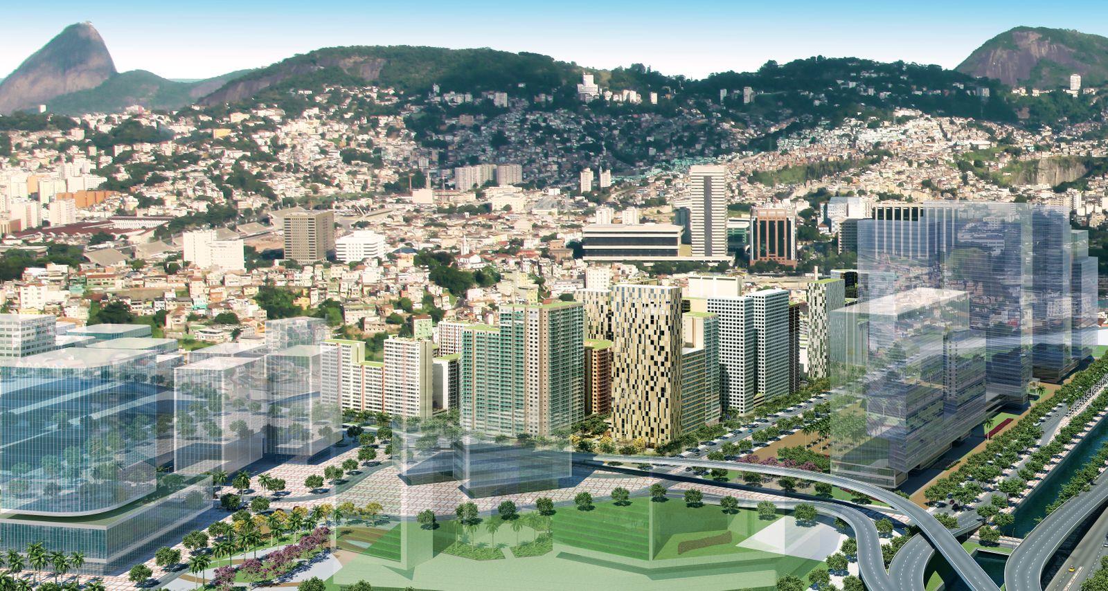 SimulaÃ?Ão meramente ilustrativa do Porto OlÃmpico e seu entor