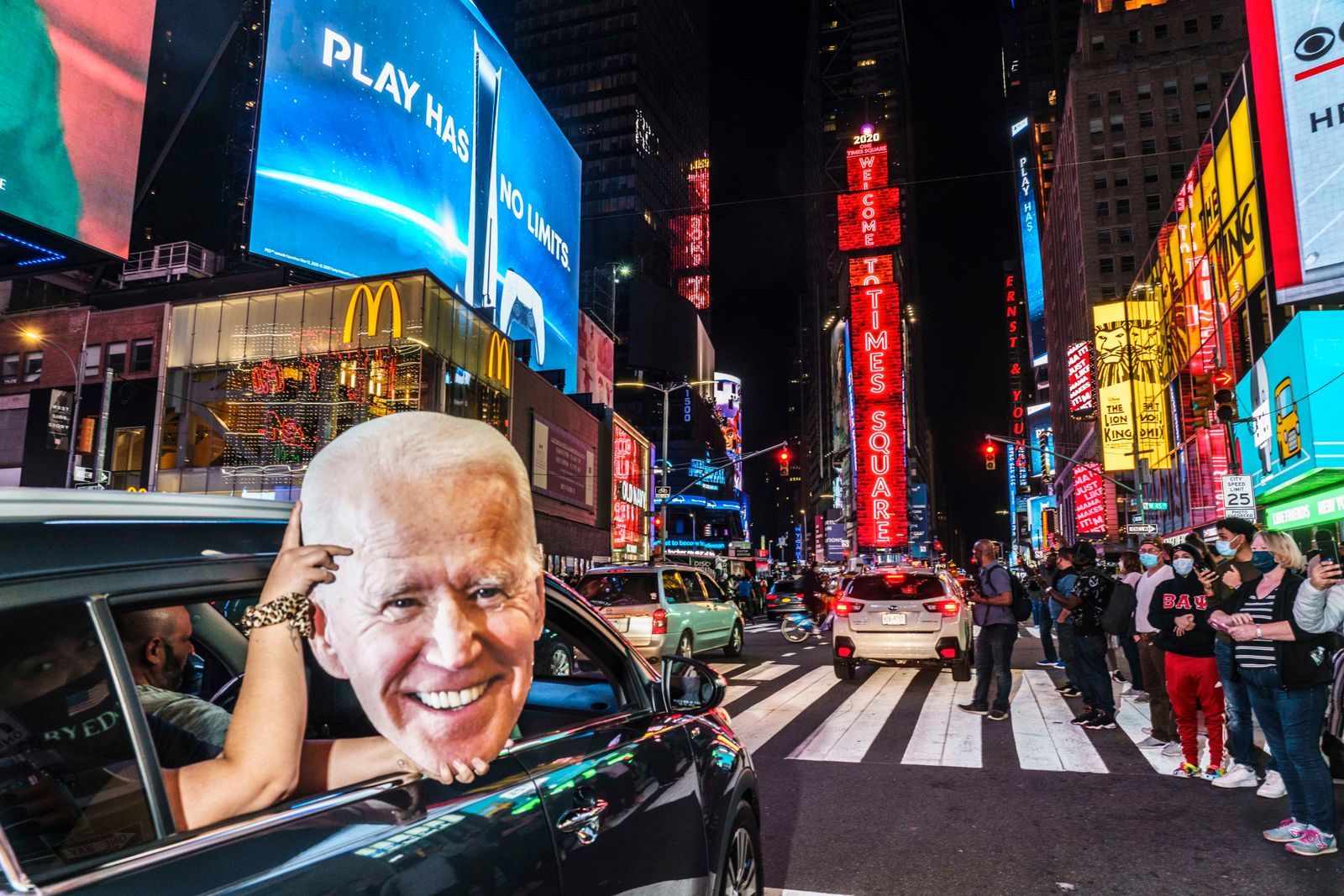 Celebration in Times Square following the announcement that Joe Biden won the 2020 Presidential Election, in Times Square, NY, on Nov. 7, 2020.