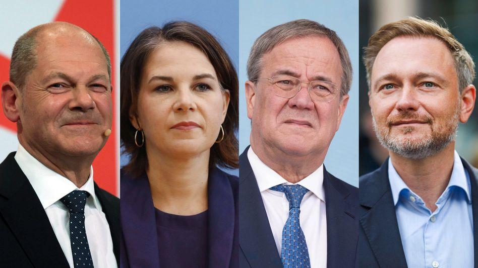 """Olaf Scholz, Annalena Baerbock, Armin Laschet, Christian Lindner: """"Die eigentlichen Wahlsieger sind die beiden kleineren Parteien"""""""