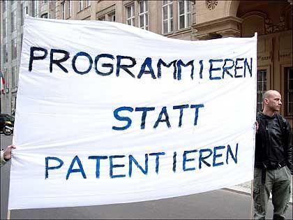 Umstrittene Richtlinie: Demonstration gegen Softwarepatente im vergangenen Jahr