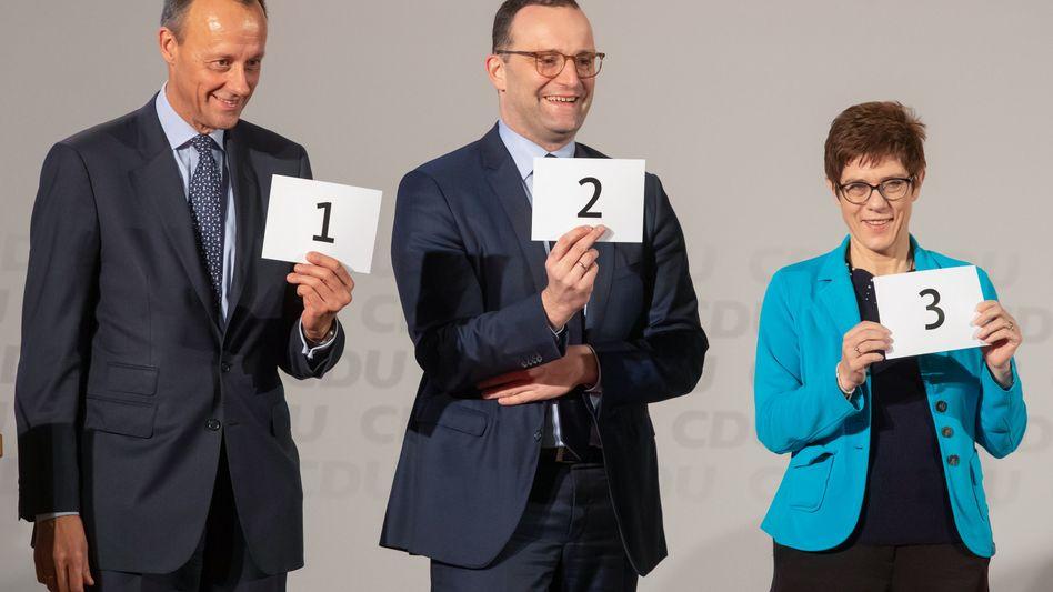Auf Stimmenfang: Friedrich Merz, Jens Spahn und Annegret Kramp-Karrenbauer