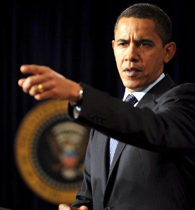 Da geht es lang: Das scheint Obama seinen Kritikern zuzurufen