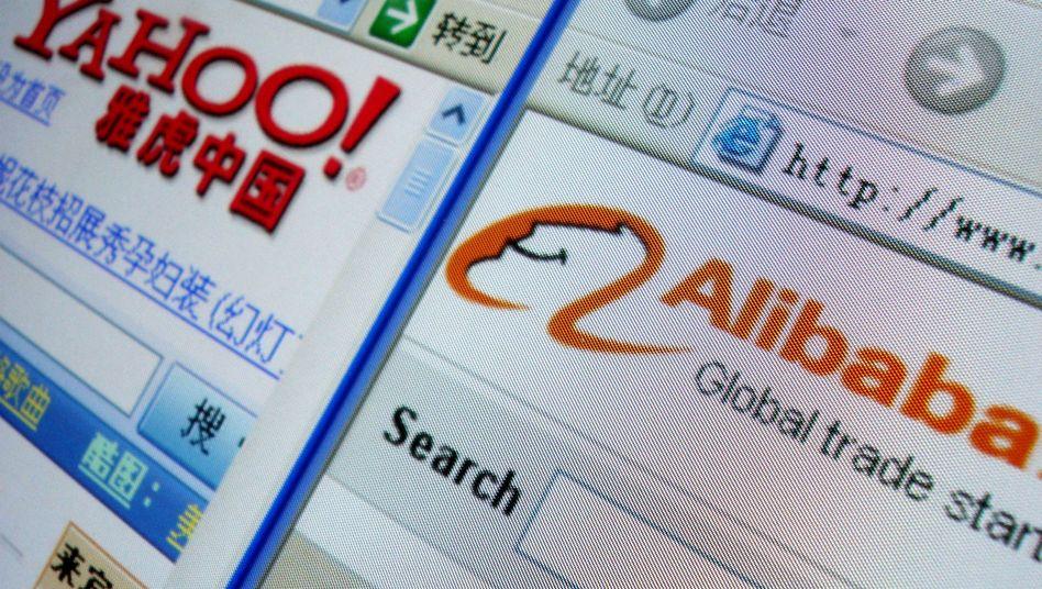 Web-Seiten von Yahoo und Alibaba: Die Unternehmen sind bereits verbandelt