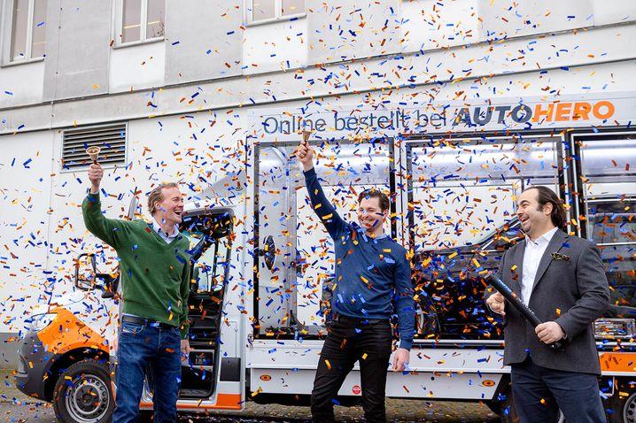 Auto1-Gründer und Finanzchef bei der IPO-Freude: Der Gebrauchtwagenhändler legte einen erfolgreichen Börsengang hin