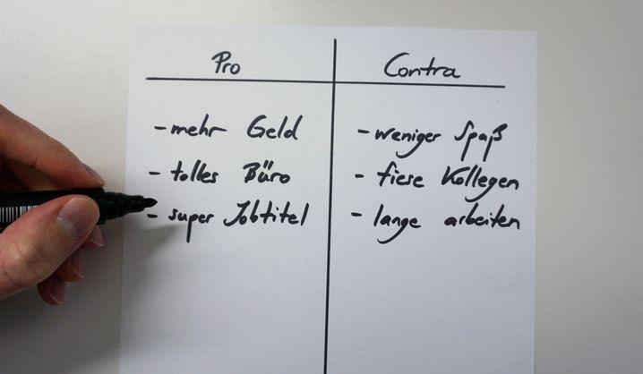 Ein Klassiker: Die Pro-Contra-Liste hilft, das Denken zu ordnen
