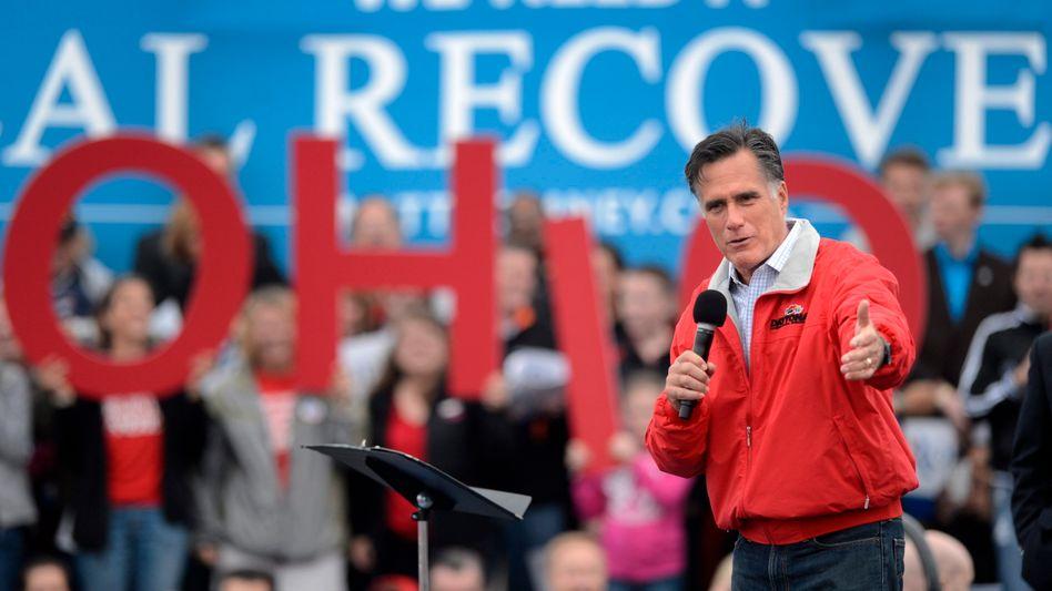 US-Präsidentschaftskandidat Mitt Romney bei einer Wahlkampfveranstaltung in Vandalia, Ohio: Hoher Finanzaufwand der Wahlkämpfer