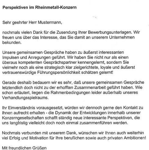 """""""Interessante Impulse und Anregungen"""": Schreiben von Rheinmetall auf Platz drei"""